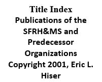 Title Index - Publications of the Society and Predeccessor Organizations