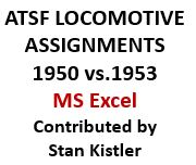 Santa Fe Locomotive Assignments - 1950 versus 1953 (Excel)