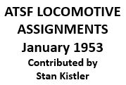 Santa Fe Locomotive Assignments - January 1950 (Excel)