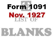 Form 1091 - November 1927