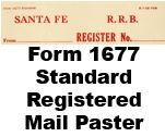 Form 1677 Standard - Registerd Mail Paster