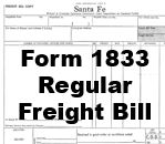 Form 1833 Regular - Freight Bill