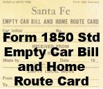 Form 1850 Standard - Empty Car Bill and Home Route Card