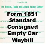 Form 1851 Standard - Consigned Empty Car waybill