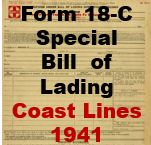 Form 18-C Special - Bill of Lading, Coast Lines 1941
