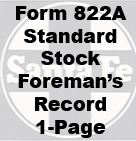 Form 822A Standard - Stock Foreman's Record, 1-Page