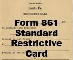 Form 861 Standard - Restrictive Card