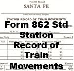 Form 862 Standard - Record of Train Movements