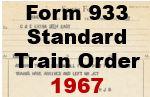 Form 933 Standard - Train Order; 1967
