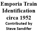 Emporia Train Identification circa 1952