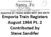 Emporia Train Registers, August 1964 - Part 2