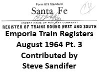 Emporia Train Registers, August 1964 - Part 3