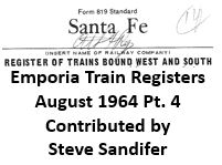Emporia Train Registers, August 1964 - Part 4