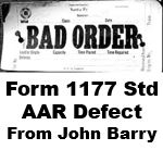 Form 1177 Standard - AAR Defect (Bad Order)