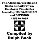 List of santa Fe Employee Timetables: 1959 to 1995