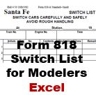 Form 818: Switch List for Modelers (Excel)