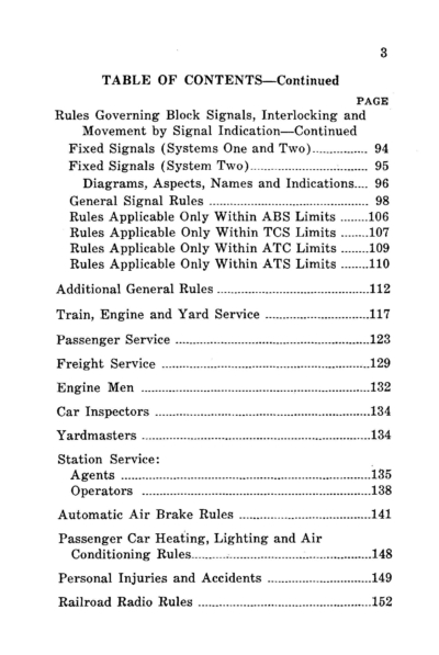 1959 Operating Rules table of contents 2