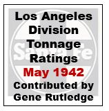 Los Angeles Division Tonnage Ratings - May 1942