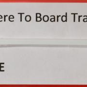 """HO Santa Fe """"Where to Board Train"""" sign"""