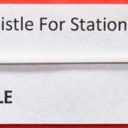 HO Santa Fe station whistle board