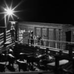 Modeled night scene in stockyard